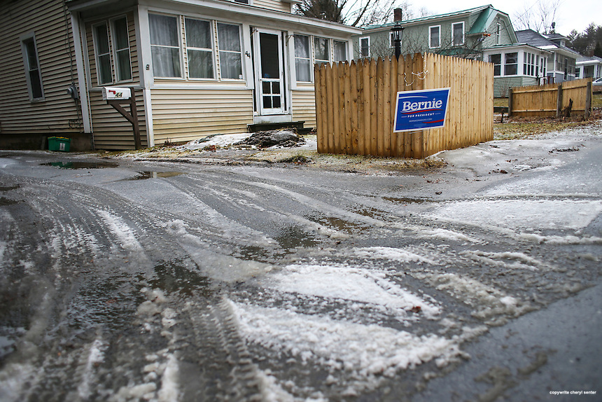 A driveway in White River Junction VT still displays a Bernie Sanders sign the day after Super Tuesday,  Wednesday, March 2, 2016.  CREDIT: Cheryl Senter for The New York Times