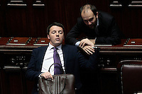 Matteo Renzi e Matteo Orfini <br /> Roma 25-02-2014 Camera. Voto di fiducia al nuovo Governo.<br /> Senate. Trust vote for the new Government.<br /> Photo Samantha Zucchi Insidefoto