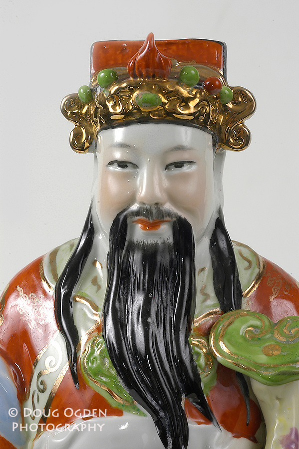 Old man china sculpture, head closeup for detail.  Images used in Estate valuation and auction program.