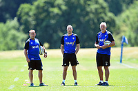 Bath Rugby first team coaches Darren Edwards, Girvan Dempsey and Director of Rugby Todd Blackadder look on. Bath Rugby pre-season training on July 2, 2018 at Farleigh House in Bath, England. Photo by: Patrick Khachfe / Onside Images