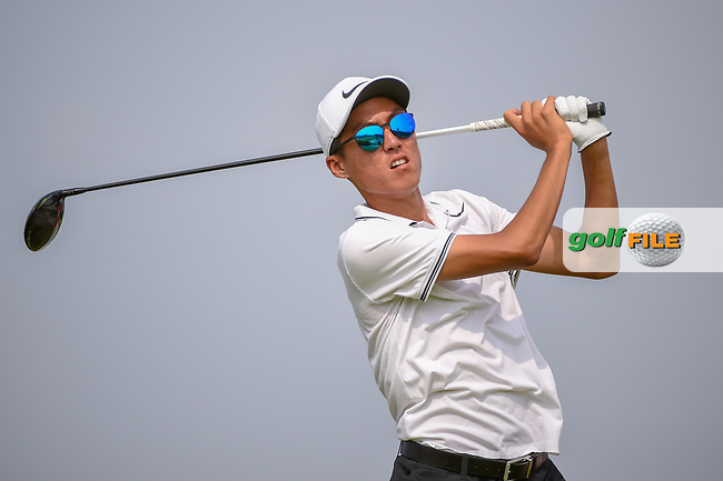 Won-Jun LEE (KOR) watches his tee shot on 6 during Rd 3 of the Asia-Pacific Amateur Championship, Sentosa Golf Club, Singapore. 10/6/2018.<br /> Picture: Golffile | Ken Murray<br /> <br /> <br /> All photo usage must carry mandatory copyright credit (© Golffile | Ken Murray)