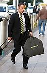 Scott McDonald arrives at Glasgow airport for flight to Tel Aviv