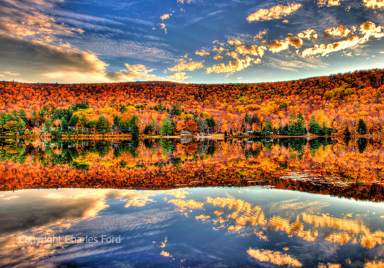 High dynamic range (HDR) image of Fall foliage reflections at Lower Baker's Pond, New Hampshire.