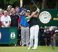 20.07.2014. Hoylake, England. The Open Golf Championship, Final Round.  Victor DUBUISSON [FRA] tees off