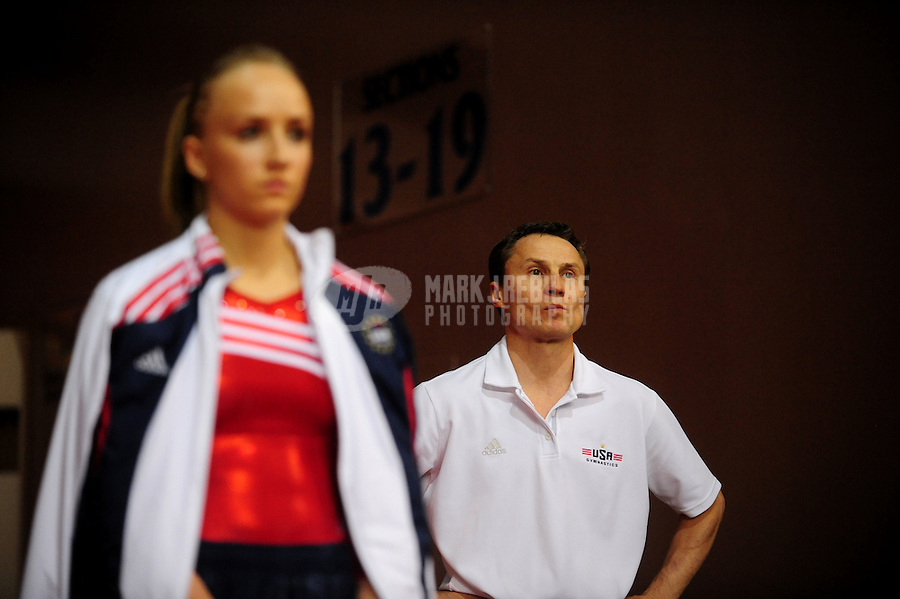 Mar 29, 2008; San Jose, CA, USA; Nastia Liukin (USA) with father/coach Valeri Liukin during the womens gymnastics all around final in the Pacific Rim Championships at the Event Center Arena. Mandatory Credit: Mark J. Rebilas-