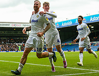 Leeds United's Pontus Jansson celebrates scoring his side's equalising goal with Jack Clarke<br /> <br /> Photographer Alex Dodd/CameraSport<br /> <br /> The EFL Sky Bet Championship - Leeds United v Brentford - Saturday 6th October 2018 - Elland Road - Leeds<br /> <br /> World Copyright &copy; 2018 CameraSport. All rights reserved. 43 Linden Ave. Countesthorpe. Leicester. England. LE8 5PG - Tel: +44 (0) 116 277 4147 - admin@camerasport.com - www.camerasport.com