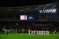 Hull City and Swansea City players join in with a minutes applause in memory of Hull City academy coach Kris Blakeston who passed away recently<br /> <br /> Photographer Chris Vaughan/CameraSport<br /> <br /> The EFL Sky Bet Championship - Hull City v Swansea City -  Friday 14th February 2020 - KCOM Stadium - Hull<br /> <br /> World Copyright © 2020 CameraSport. All rights reserved. 43 Linden Ave. Countesthorpe. Leicester. England. LE8 5PG - Tel: +44 (0) 116 277 4147 - admin@camerasport.com - www.camerasport.com