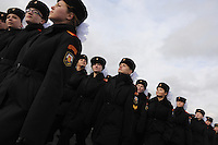 RUSSIA, Moscow, 10.2010. ©  Sergey Kozmin/EST&OST.The Moscow Girls Cadet Boarding School..Every year the girls practice marching before an annual parade on the 7th of November in Red Square.