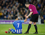 Beram Kayal of Brighton tells Referee Kevin Friend he has been elbowed during the premier league match at the Amex Stadium, London. Picture date 17th April 2018. Picture credit should read: David Klein/Sportimage
