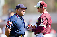 College of Charleston Cougars head coach Monte Lee discusses a call with third base umpire Mike Mazzerici during the game against the Davidson Wildcats at Wilson Field on March 12, 2011 in Davidson, North Carolina.  The Wildcats defeated the Cougars 8-3.  Photo by Brian Westerholt / Four Seam Images