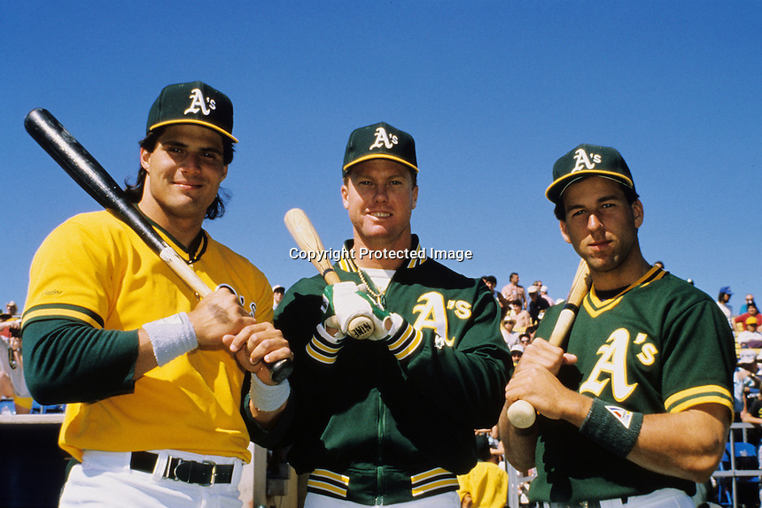 Oakland A's three rookies of the year, Jose Canseco, Mark McGuire, and Walter Weiss, 1989. Photo by Ron Riesterer