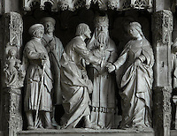The marriage of Mary and Joseph in front of the high priest, with St Anne and 2 witnesses, by Jean Soulas, upper scene from the choir screen, 1519-25, Chartres Cathedral, Eure-et-Loir, France. These sculpted scenes show the change in style from Gothic to Renaissance in the early 16th century in France. Chartres cathedral was built 1194-1250 and is a fine example of Gothic architecture. It was declared a UNESCO World Heritage Site in 1979. Picture by Manuel Cohen.