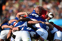 Soane Tonga'uiha of Tonga in action at a scrum. Rugby World Cup Pool C match between Tonga and Namibia on September 29, 2015 at Sandy Park in Exeter, England. Photo by: Patrick Khachfe / Onside Images