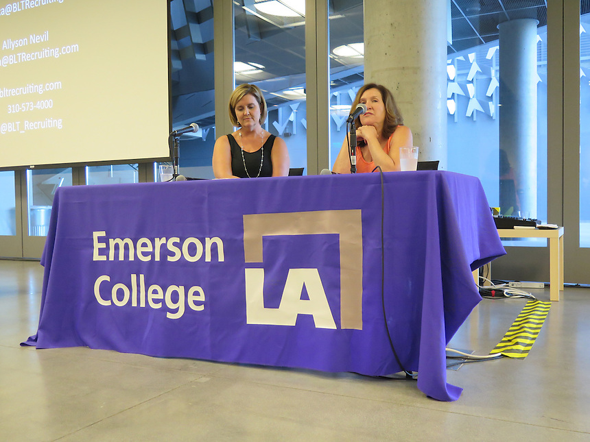 Allyson Nevil and Francesa Cohn from BLT Recruiting speak with audience members at a recruiting event at Emerson Los Angeles on June 25, 2015.