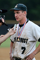 June 12, 2010:  Lindenhurst first baseman Jon McGibbon (7) is interviewed after defeating Guilderland during the NYSPHAA Class-AA State Championship game at Binghamton University in Binghamton, NY.  Lindenhurst defeated Guilderland by the score of 15-2.  McGibbon was seleced in the 29th round by the Seattle Mariners of the 2010 MLB draft but chose to attend Clemson University to play for the Bulldogs.  Photo By Mike Janes/Four Seam Images