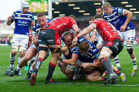 Tom Dunn of Bath Rugby scores a first half try. Gallagher Premiership match, between Gloucester Rugby and Bath Rugby on April 13, 2019 at Kingsholm Stadium in Gloucester, England. Photo by: Patrick Khachfe / Onside Images