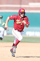 Bobby Stahel (4) of the Southern California Trojans runs the bases during a game against the Oregon Ducks at Dedeaux Field on April 18, 2015 in Los Angeles, California. Oregon defeated Southern California, 15-4. (Larry Goren/Four Seam Images)