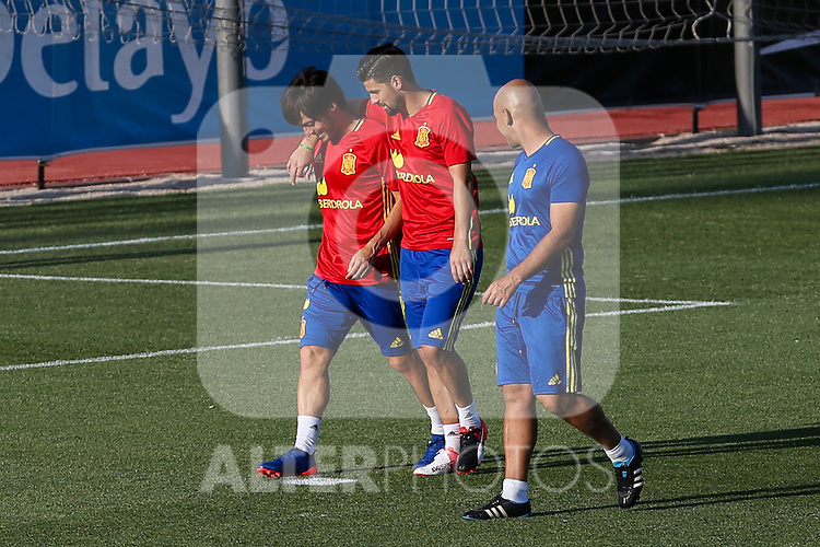 Spanish David Silva and Nolito during the first training of the concentration of Spanish football team at Ciudad del Futbol de Las Rozas before the qualifying for the Russia world cup in 2017 August 29, 2016. (ALTERPHOTOS/Rodrigo Jimenez)
