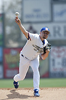 Jason Schmidt of the Los Angeles Dodgers pitches for the Inland Empire 66'ers during a MLB rehabilitation assingment on May 30, 2007 at San Manuel Stadium in San Bernardino, California. (Larry Goren/Four Seam Images)