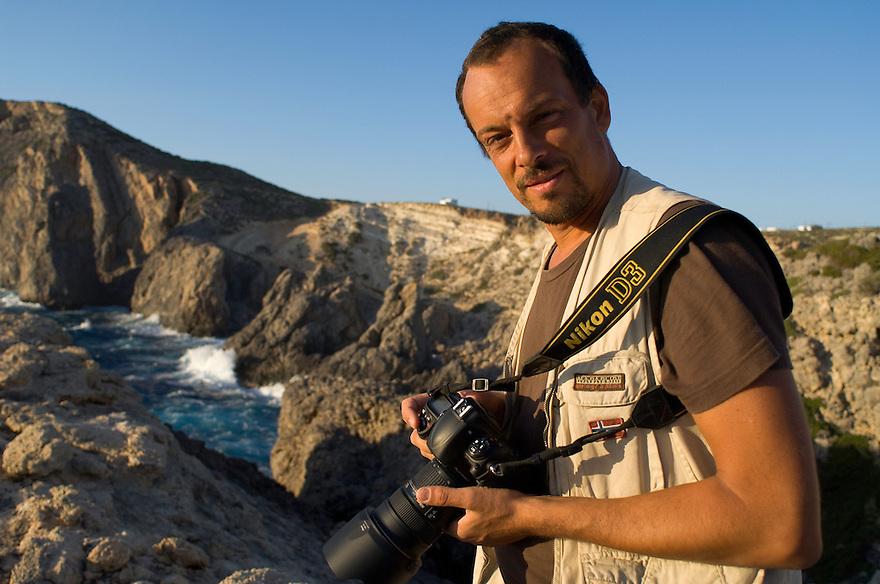 Photographer Stefano Unterthiner in Greece for WWE for his mission on Eleonora's falcon (Nikon). Antikythera island, Greece