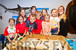 Pictured at on of the many displays at Sea Synergy Awareness Centre in Waterville for World Ocean Day on Monday were front l-r; Maddie Courtney, Lieve Duff, Alex Droscoll, Dominic Courtney, Harriet O'Sullivan, back l-r; Lucy Hunt MSc, Intia Duff, Maeve Courtney, Eliza O'Sullivan & Elyse Venne MSc.