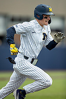 Michigan Wolverines shortstop Jack Blomgren (2) runs to first base against the Rutgers Scarlet Knights on April 27, 2019 in the NCAA baseball game at Ray Fisher Stadium in Ann Arbor, Michigan. Michigan defeated Rutgers 10-1. (Andrew Woolley/Four Seam Images)