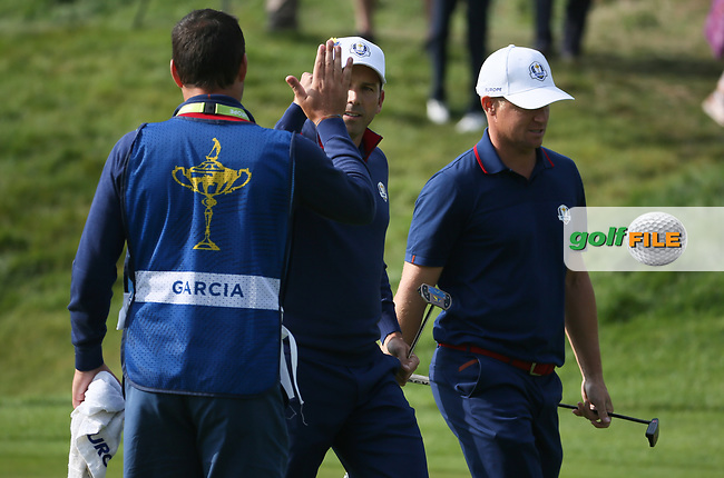 Sergio Garcia (Team Europe) holes out on the 7th during Friday's Foursomes, at the Ryder Cup, Le Golf National, Île-de-France, France. 28/09/2018.<br /> Picture David Lloyd / Golffile.ie<br /> <br /> All photo usage must carry mandatory copyright credit (© Golffile | David Lloyd)