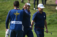 Sergio Garcia (Team Europe) holes out on the 7th during Friday's Foursomes, at the Ryder Cup, Le Golf National, &Icirc;le-de-France, France. 28/09/2018.<br /> Picture David Lloyd / Golffile.ie<br /> <br /> All photo usage must carry mandatory copyright credit (&copy; Golffile | David Lloyd)