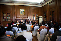 (L-R) Kathryn Deyell (DFAT), Pallavi Sharda (OzFest ambassador), Dr. Lachlan Strahan (Australian Deputy High Commissioner to India), Maharaj Narendra Singh (Maharaj of Jaipur), Nik Senapati (Rio Tinto Managing Director), and Yunus Khimani (of the Jaipur Palace) sit together as Nik Senapati speaks to the media during a press conference on Oz Fest in Raj Mahal Palace hotel, Jaipur, India on 10th January 2013. Photo by Suzanne Lee/DFAT