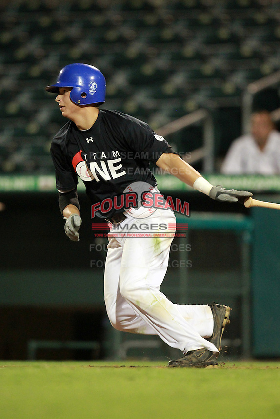 Shortstop/Outfielder Tyler Kendall (14) of Park Vista High School, committed to Florida, participates in the Team One Futures Game East at Roger Dean Stadium in Jupiter, Florida September 25, 2010..  Photo By Mike Janes/Four Seam Images