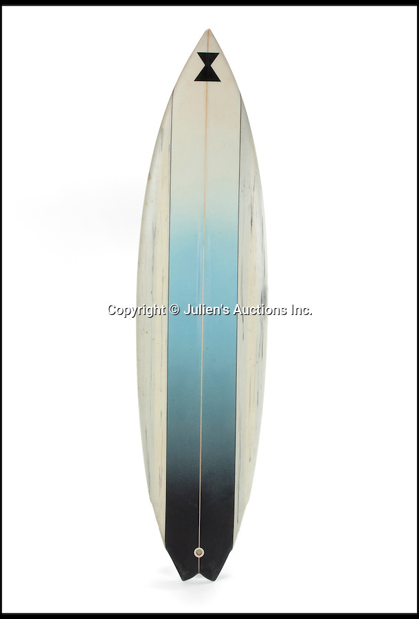 """BNPs.co.uk (01202 558833)<br /> Pic: JuliensAuctions/BNPS<br /> <br /> Patrick Swayze's custom made surfboard for Point Break is estimated at £4,790.<br /> <br /> The iconic leather jacket worn by Patrick Swayze as he delivers the famous line """"Nobody puts Baby in a corner"""" is up for grabs.<br /> <br /> The notable piece of clothing from the 1987 classic Dirty Dancing has been given a conservative estimate of less than £5,000 but auctioneer Darren Julien says the """"Holy Grail"""" of Swayze memorabilia could fetch more than six times that.<br /> <br /> The surfboard from Point Break (1991) and Swayze's shirt from Ghost (1990) are also among the key lots being sold by his wife of 34 years, Lisa Niemi.<br /> <br /> The Hollywood items being sold by Julien's in Los Angeles, following the star's death from pancreatic cancer in 2009, offer film fans the chance to own a piece of pop culture history.<br /> <br /> The memorabilia will be sold in Los Angeles on April 28 and 29."""