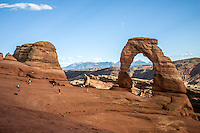 Delicate Arch is a free-standing arch and has become a widely recognized symbol of the state of Utah and one of the most famous geologic features in the world.<br /> <br /> The light opening beneath the arch is 64 feet high and 45 feet wide, making it the largest free-standing arch in the park.