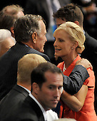St. Paul, MN - September 2, 2008 -- Former United States President George H.W. Bush, left, speaks to Cindy McCain, wife of United States Senator John McCain (Republican of Arizona), right, at the 2008 Republican National Convention in St. Paul, Minnesota on Tuesday, September 2, 2008..Credit: Ron Sachs / CNP.(RESTRICTION: NO New York or New Jersey Newspapers or newspapers within a 75 mile radius of New York City)