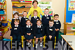 Class teacher Siobhan D'Arcy with her new junior infants front l-r Josh O'Donoghue, twins Shauna and Kaitlin O'Riordan and Conor Doherty, back l-r Mark McGee, Mikolaj Pajak, Susie Dineen, MIchael O'Donoghue and Emanuel Estera on their first day of school in Barruduff NS last Thursday.
