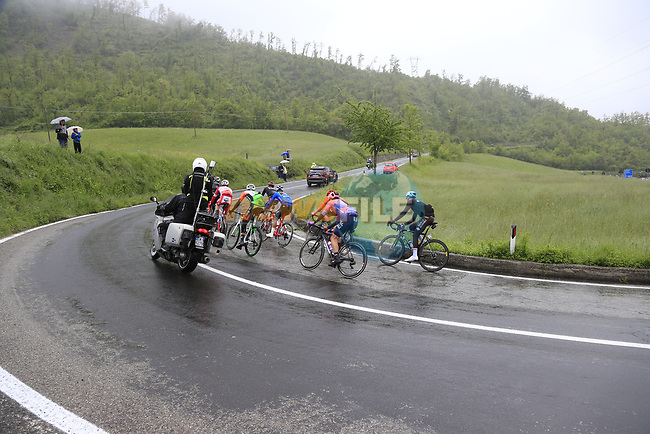 "The breakaway group with a 4"" advantage climb over the Appenines and into Tuscany during a wet Stage 2 of the 2019 Giro d'Italia, running 205km from Bologna to Fucecchio, Italy. 12th May 2019.<br /> Picture: Eoin Clarke 