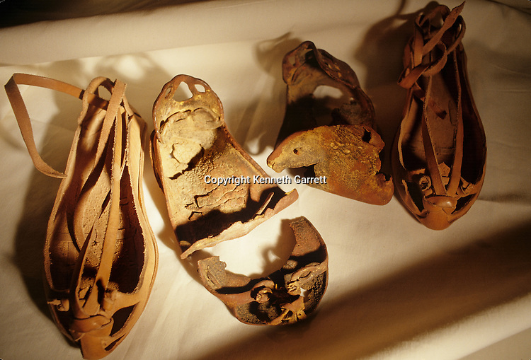 Leather sandals from tomb of the unknown Copper Age warrior, .cave tomb near Jericho, Israel Museum