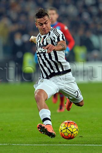 13.02.2016. Juventus Stadium, Turin, Italy. Serie A Football. Juventus versus Napoli. Paulo Dybala has a shot at goal