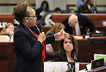 Nevada Assemblywoman Dina Neal, D-North Las Vegas, speaks on the Assembly floor at the Legislative Building in Carson City, Nev., on Friday, May 22, 2015. <br /> Photo by Cathleen Allison