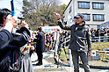 April 14, 2011, Ishonomaki, Japan - Japanese actor Hiroshi Tachi, right, of Ishihara Promotion gives a helping hand to quake victims as he and fellow actor Tetsuya Watari run a soup kitchen in Ishonomaki, Miyagi Prefecture, on Thursday, April 14, 2011. The two big stars led Ishihara Promotion in providing meals for one week for the victims of March 11 earthquake and tsunami in this northeastern Japanese town. (Photo by AFLO) [3620] -mis-