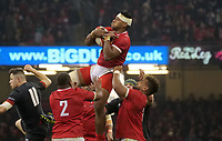 Tonga's Fotu Lokotui catches the high ball <br /> <br /> Photographer Ian Cook/CameraSport<br /> <br /> Under Armour Series Autumn Internationals - Wales v Tonga - Saturday 17th November 2018 - Principality Stadium - Cardiff<br /> <br /> World Copyright © 2018 CameraSport. All rights reserved. 43 Linden Ave. Countesthorpe. Leicester. England. LE8 5PG - Tel: +44 (0) 116 277 4147 - admin@camerasport.com - www.camerasport.com