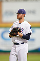 Pensacola Blue Wahoos Shrimp pitcher Joel Bender (27) during a game against the Jacksonville Jumbo on August 15, 2018 at Blue Wahoos Stadium in Pensacola, Florida.  Jacksonville defeated Pensacola 9-2.  (Mike Janes/Four Seam Images)