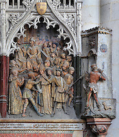 The arrest and beheading of Saint Firmin, Gothic style polychrome high-relief sculpture from the funerary monument of Ferry de Beauvoir, 1490, in the first intercolumniation of the choir screen in the south ambulatory, depicting the life of St Firmin, at the Basilique Cathedrale Notre-Dame d'Amiens or Cathedral Basilica of Our Lady of Amiens, built 1220-70 in Gothic style, Amiens, Picardy, France. St Firmin, 272-303 AD, was the first bishop of Amiens. Amiens Cathedral was listed as a UNESCO World Heritage Site in 1981. Picture by Manuel Cohen