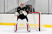 June 28, 2018: Boston Bruins goalie Kyle Kyser (85) minds the net during the Boston Bruins development camp held at Warrior Ice Arena in Brighton Mass. Eric Canha/CSM