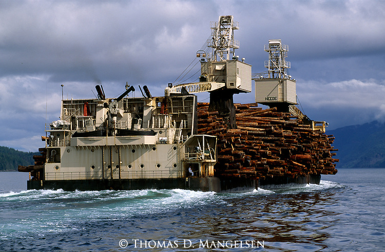 A loaded logging boat travels through the water on the coast of British Columbia.