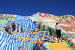 Visitors at Salvation Mountain, Yellow-brick road