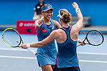 Zhang Shuai of China (L) and Samantha Stosur of Australia (R) celebrate after winning the doubles final match against Shuko Aoyama of Japan and Lidziya Marozava of Belarus during at the WTA Prudential Hong Kong Tennis Open 2018 at the Victoria Park Tennis Stadium on 14 October 2018 in Hong Kong, Hong Kong. Photo by Yu Chun Christopher Wong / Power Sport Images