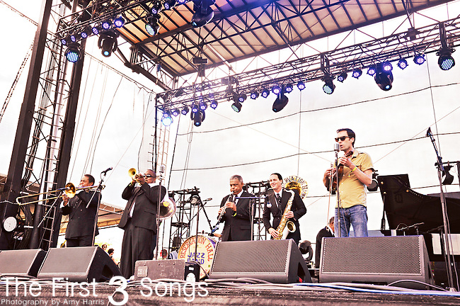 Andrew Bird performs with Preservation Hall Jazz Band at Forecastle Festival in Louisville, Kentucky.