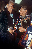 May 6th to 13th, 1985 in Navajo Reserve, AZ. Mae Castillo received a Navajo Nation Humanitarian award for saving a kid from fire. Navajo women wearing traditional ornaments and modern costumes.