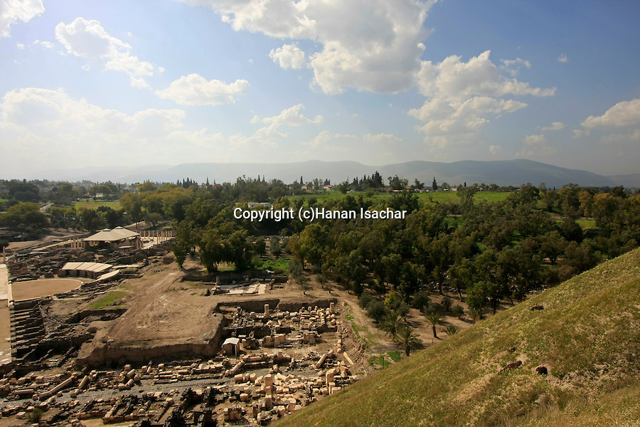 Israel, Beth Shean valley. A view of the ruins of Scythopolis and modern Beth Shean from Tel Beth Shean