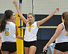 Wantagh No. 9 Haley Labo and teammates celebrate after taking the first set of a Nassau County varsity girls' volleyball match against South Side at Wantagh High School on Friday, October 23, 2015. Wantagh won 25-15, 25-17, 28-26.<br /> <br /> James Escher